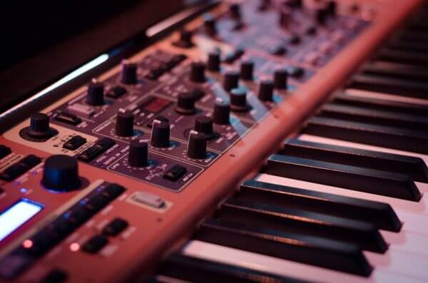 synthesizer in focus