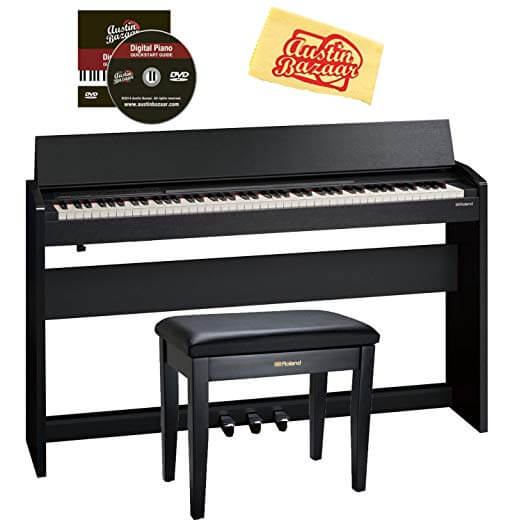 Roland F-140R Digital Piano - Contemporary Black Bundle with Roland RPB-100 Bench, Austin Bazaar Instructional DVD, and Polishing Cloth
