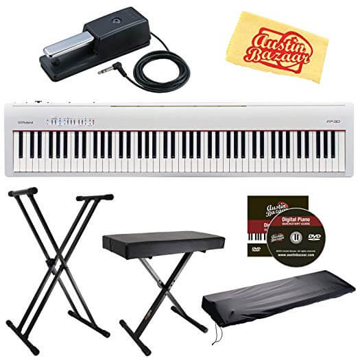 Roland FP-30 Digital Piano - White Bundle with Roland DP-10 Damper Pedal, Adjustable Stand, Bench, Dust Cover, Austin Bazaar Instructional DVD, and Polishing Cloth